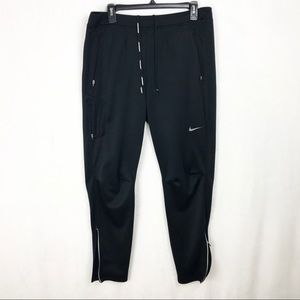Nike Black Drawstring Dri-fit Pants Leg Zippers